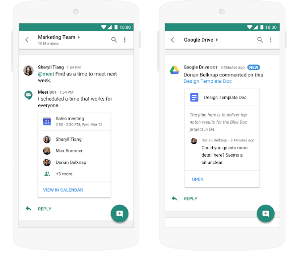 The new Hangouts Chat app integrates phones, mail contacts, meet and is said to integrate with Google Hangouts the original product.